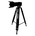 black camera and tripod on a white vector image