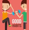 boy and girl healthy good habits vector image vector image