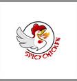 cartoon emblem chicken logo design template vector image vector image