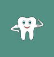 cartoon tooth uses dental floss vector image vector image