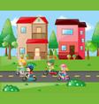 children cycling in the neighborhood vector image vector image