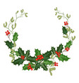 christmas decorations with holly and red berries vector image vector image