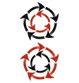 Circles of red and black grunge arrows vector image vector image