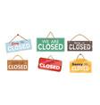closed entrance reminder placard or signage set vector image