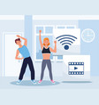 couple practicing online exercise for quarantine vector image vector image