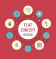 flat icons stand pen scheme elements set vector image