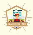 gardener man with hat house garden flowers vector image