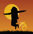 girl silhouette in nature vector image vector image