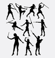 Girl with stick female sport silhouette vector image vector image