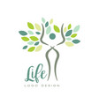 healthy life logo with abstract human silhouette vector image vector image