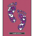 hearts and flowers on the feetprint vector image