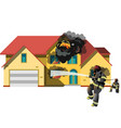 house on fire with fireman vector image vector image