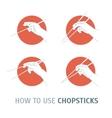 How Use Chopsticks Oriental Cuisine vector image vector image