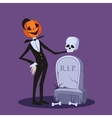 Jack o Lantern Near the Grave Halloween vector image vector image
