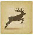 jumping horned deer on vintage background vector image