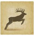 jumping horned deer on vintage background vector image vector image
