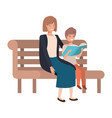 mother and son sitting in park chair avatar vector image vector image