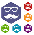 nerd glasses mustaches icons hexahedron vector image vector image