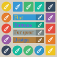 Pencil icon sign Set of twenty colored flat round vector image