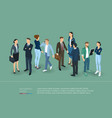 people crowd isometric presentation template vector image vector image