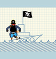 pirate on ship painted ship and buccaneer scary vector image vector image