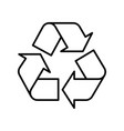 recycle symbol black outline on white background vector image