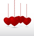 Red volumetric hearts vector image vector image