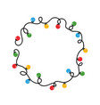 round frame tangled wire and christmas lights vector image vector image