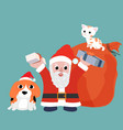 santa claus with beagle dog wearing red hat and vector image vector image
