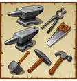 Set of anvils saws hammers and other tools vector image