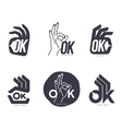 Set of hand showing OK sign logo templates vector image