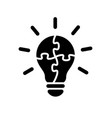 simple light bulb globe with puzzle icon vector image