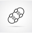 skateboard line icon flat eps10 vector image