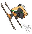 skier jumping sketch doodle hand vector image vector image