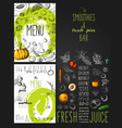 smoothies and fresh juices bar menu vector image vector image