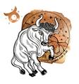 Taurus zodiac signHoroscope circleWatercolor vector image
