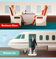 trip on airplane horizontal banners vector image vector image