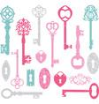 Vintage Keys Silhouette Pink Blue Grey vector image