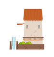 watermill with brick walls and wheel isolated on vector image vector image