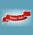 winter sale banner with red realistic ribbon vector image