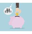 Hand Saving Money for Family Money Saving Concept vector image