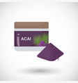 acai berries powder flat icon vector image