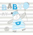 babackground with cute little hippo vector image