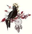 beautiful bird holding arrow and dreamcatcher vector image vector image