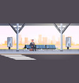 businessman sitting modern bus stop business man vector image