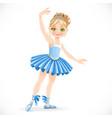 cartoon ballerina girl in blue dress dancing
