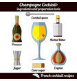 champagne cocktail infographic set isolated vector image vector image