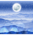 Christmas landscape with full moon vector image vector image