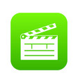 clapper icon green vector image