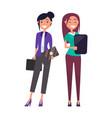 colleagues elegant businesswomen pretty girls set vector image vector image